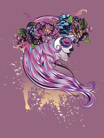 girl party: Day of the Dead illustration with sugar skull girl in decorative flower wreath.