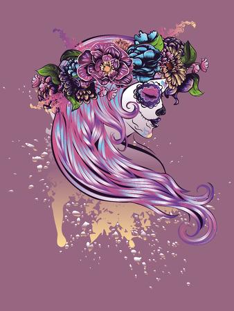 black girl: Tag der toten Illustration mit Zucker Sch�del M�dchen in dekorativen Blumenkranz.