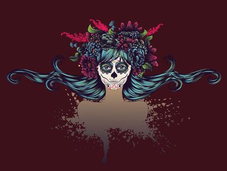 ¢  day of the dead       ¢: Día de los Muertos ilustración con la muchacha del cráneo del azúcar en decorativo corona de flores.