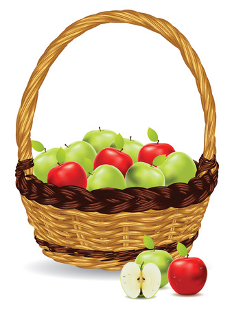 contrasts: Fresh green and red apples in a basket on white background.