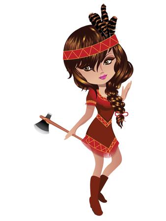 ni�os actuando: Ilustraci�n de una chica que llevaba un traje nativo americano. Vectores