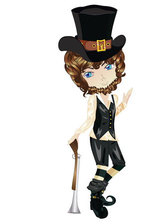 pilgrim costume: Illustration of a cartoon boy dressed in a pilgrim costume.