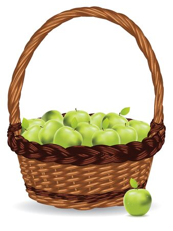 basket: Fresh green apples in a basket on white background.