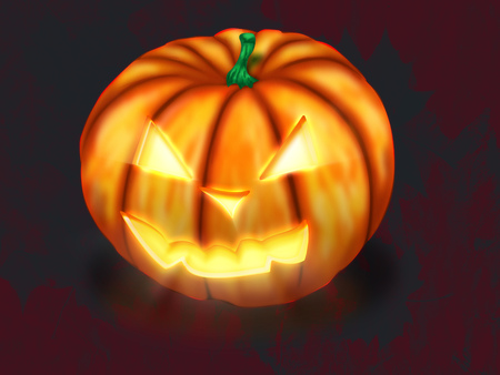 cucurbit: Spooky Jack O Lantern Halloween pumpkin with candle light inside.