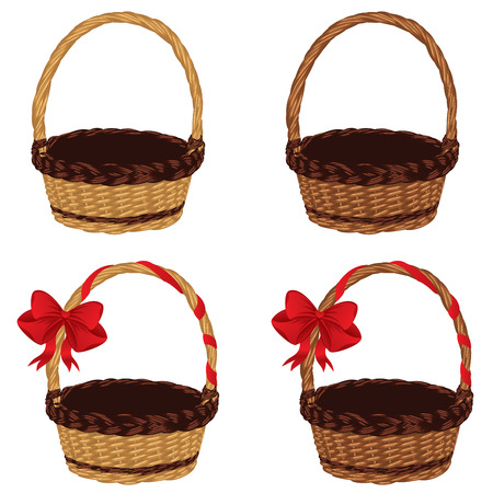 bast basket: Set of different empty baskets on white background. Illustration