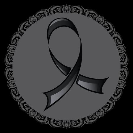melanoma: Stylized black ribbon, mourning and melanoma symbol.