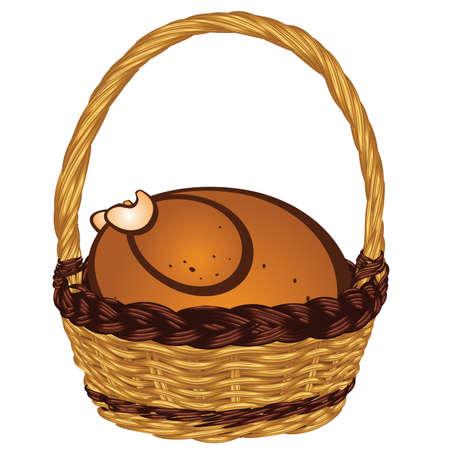 Tasty roasted turkey in a vintage wicker basket. Illustration