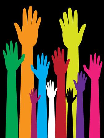 voting: Cartoon colorful raised hands, volunteer, voting concept. Illustration