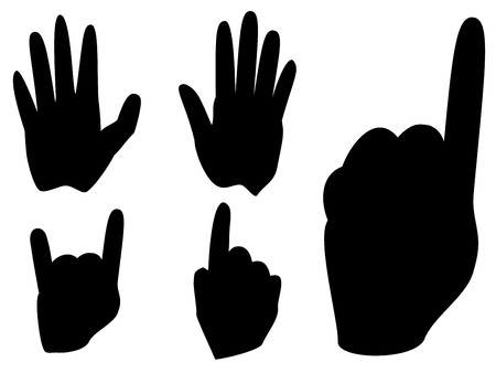 Cartoon human hands with various gestures, simple silhouette. Illustration