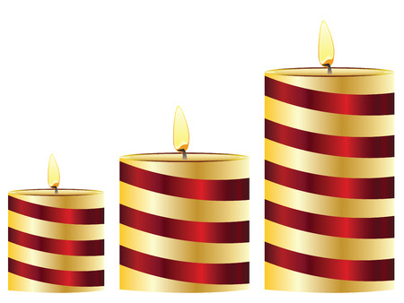 lit: Set of lit candles in different sizes. Illustration
