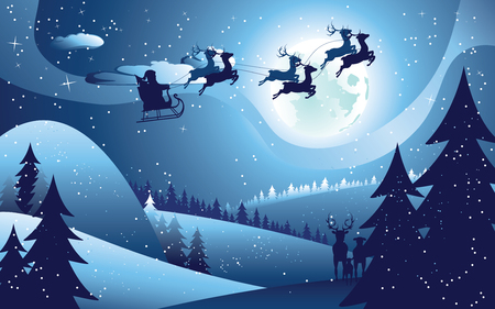Peaceful winter forest at night and flying santa, Christmas night. Çizim
