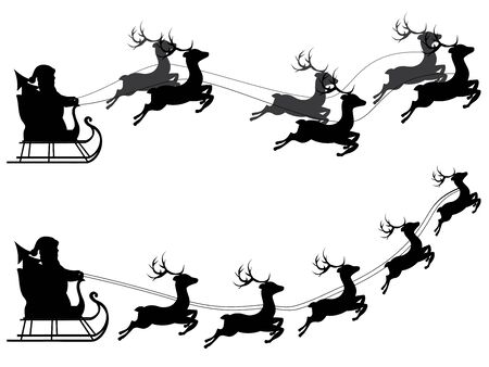 santa sleigh: Cartoon Santa Claus silhouette riding a sleigh with stylized deers.