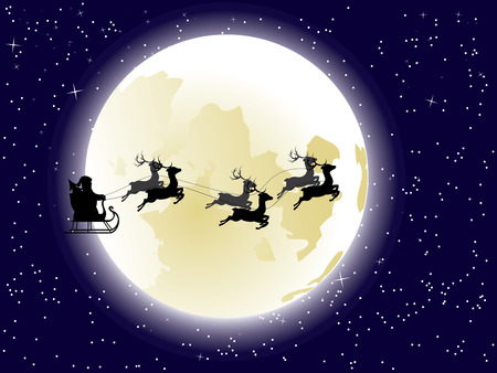 santas sleigh: Cartoon Santa Claus silhouette riding a sleigh with stylized deers in front of the full moon.