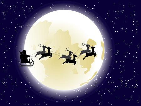 papa noel en trineo: Dibujos animados de Santa Claus silueta andar en trineo con ciervos estilizadas delante de la luna llena.