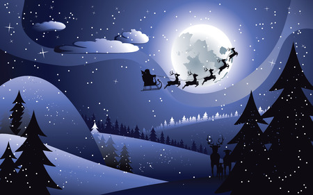 santa sleigh: Peaceful winter forest at night and flying santa, Christmas night. Illustration