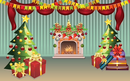 christmas room: Cartoon living room interior decorated for Christmas. Illustration