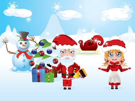 mrs santa claus: Cute cartoon Santa and Mrs Claus in red Christmas suits. Illustration