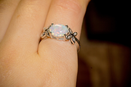 opal: Fashion silver ring with white fire opal.