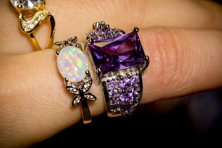 silver ring: Fashion silver ring with big purple amethyst.