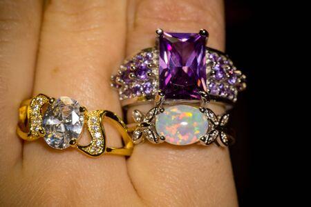 Fashion silver ring with big purple amethyst.