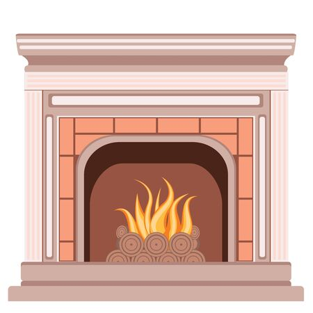 pilasters: Element of the interior living room classic fireplace with pilasters and a furnace. Illustration