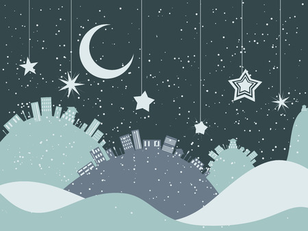 snow landscape: Winter night landscape with big snow hills and city. Illustration