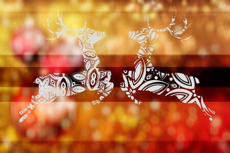 celebration background: Celebration background with decorative ornamental deer silhouette. Stock Photo