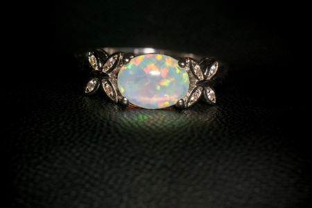 ring of fire: Fashion silver ring with white fire opal.