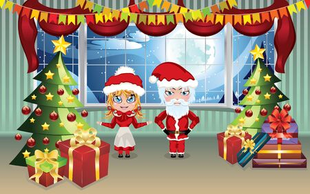 mrs santa claus: Cartoon Santa and Mrs Claus in the living room decorated for Christmas. Illustration
