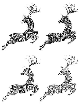 celebration background: Celebration background with decorative ornamental deer silhouette. Illustration