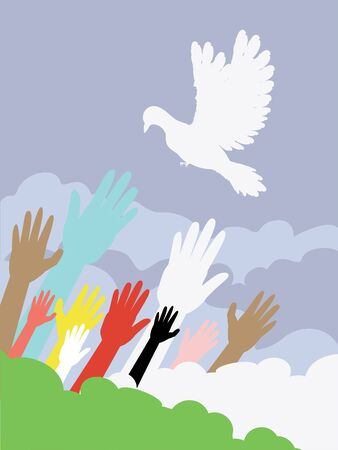 volition: Group of hands and dove silhouette, flat illustration.