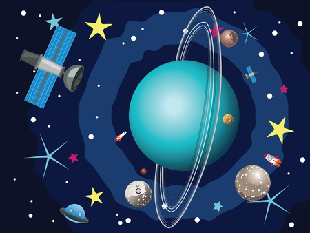 shuttles: Cartoon planet Uranus in the space with stars and shuttles. Illustration