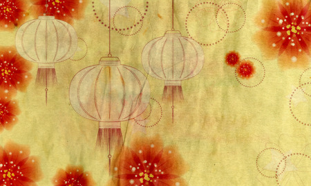 paper lantern: Decorative oriental Asian paper lantern with flowers, abstract background.