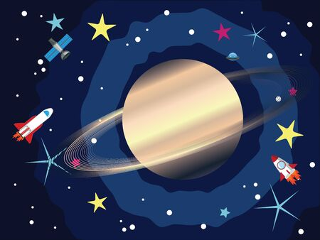 and saturn: Big planet Saturn in the space with stars and shuttles. Illustration