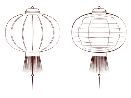 asian art: Decorative oriental Asian paper lantern line art illustration.
