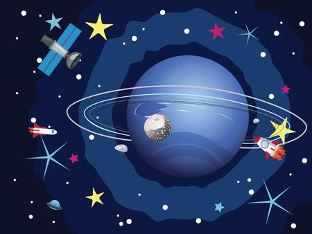 neptuno: planeta Neptuno de dibujos animados en el espacio con las estrellas y las lanzaderas. Vectores