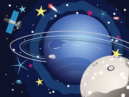 shuttles: Cartoon planet Neptune in the space with stars and shuttles.