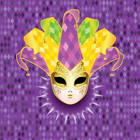 stage costume: Decorative full face carnival mask with jolly hat. Illustration