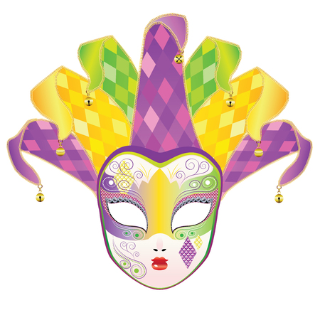 full face: Decorative full face carnival mask with jolly hat. Illustration