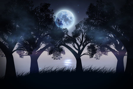 Big moon in the starry sky and stylized tree silhouette.
