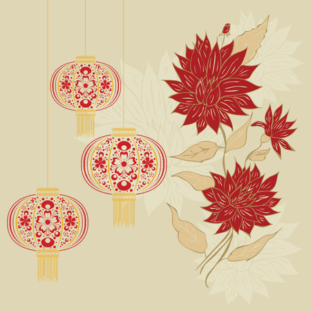 paper lantern: Decorative oriental Asian paper lantern with flower ornament. Illustration