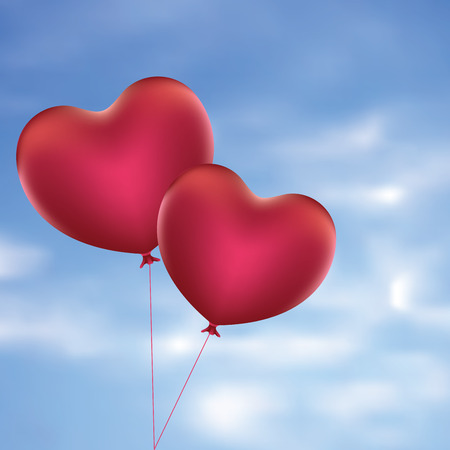 red balloons: Romantic red balloons in a shape of a heart.