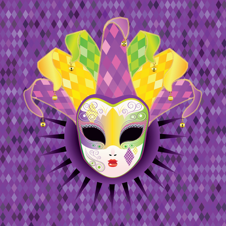 face mask: Decorative full face carnival mask with jolly hat. Illustration
