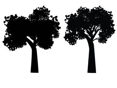 diseño estilizado árbol decorativo, negro silueta abstracta.