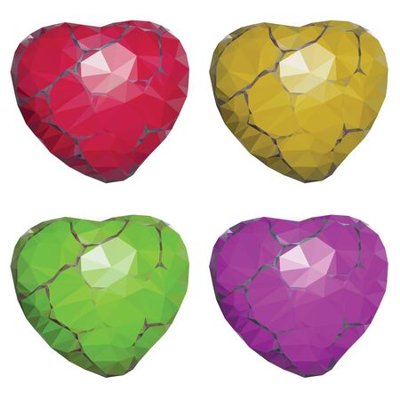 cracks: Colorful low poly stone hearts with cracks set. Illustration