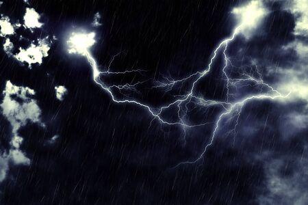 streak lightning: Dark stormy sky and bright lightning, thunderstorm background. Stock Photo