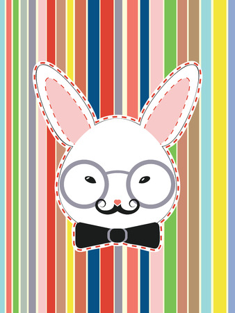 black bow: Stylized decorative white rabbit head with black bow and glasses.