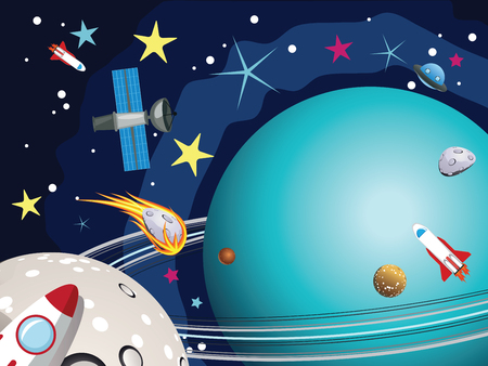 cosmo: Cartoon planet Uranus in the space with stars and shuttles. Illustration