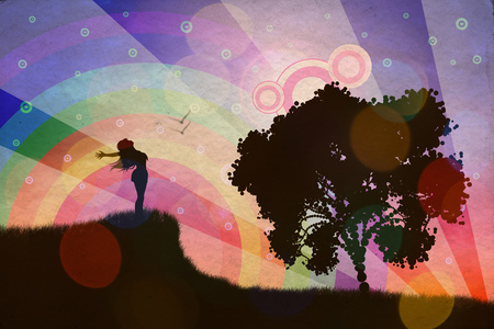 Stylized silhouette of a human relaxing on a beautiful sunset of a summer day. Stock Photo