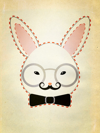 black bow: Stylized decorative white rabbit head with black bow and glasses, grunge paper textured.